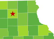 star marks location of new hampton within map of iowa