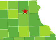 star marks location of ossian within map of iowa